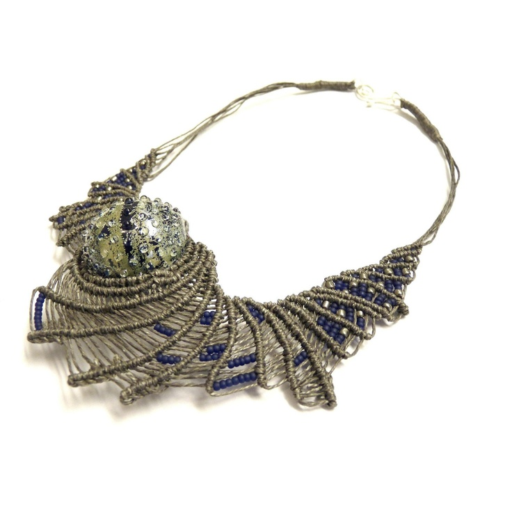 Necklace | Ifat Nesher. Linen thread macrame, glass beads and silver clasp-genius