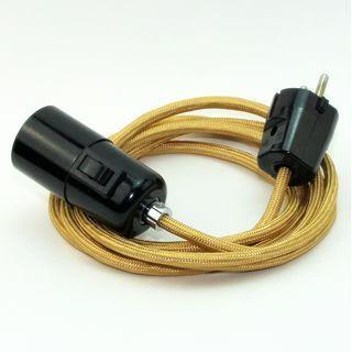 Textilkabel Pendel gold E27 Bakelit Vintage Fassung mit Schalter schwarz und Schuko-Stecker
