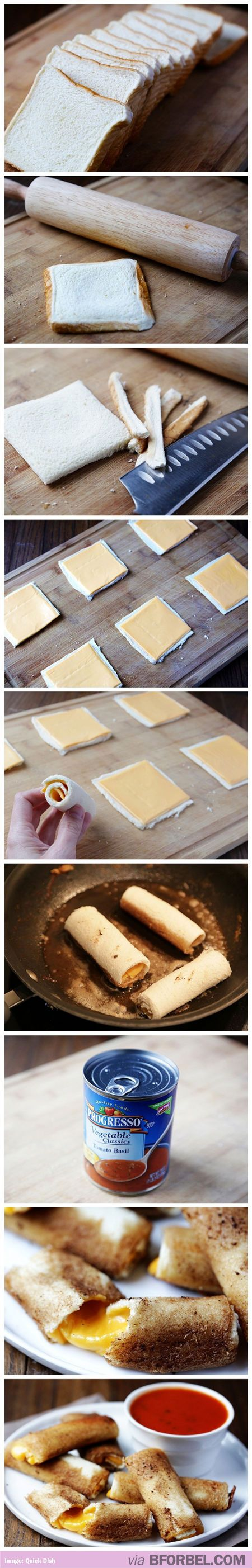 How to make grilled cheese rolls. Literally drooling all over my keyboard.