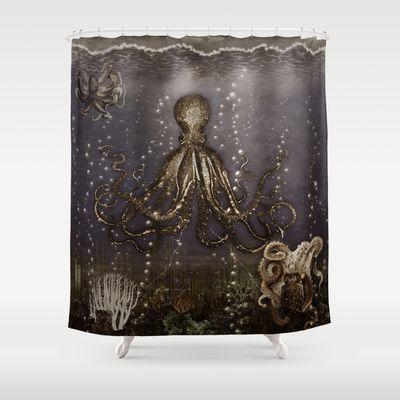 Kraken Shower Curtain - Octopus Lair  #krakensshowercurtainglam  #octopusshowercurtainglam