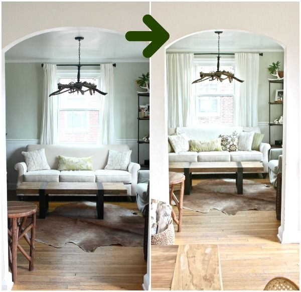 Moving the curtain rod (wider over window) makes a massive difference. From apartment therapy. How to hang window treatments, draperies, curtains, interior design, white window panels, cowhide rug