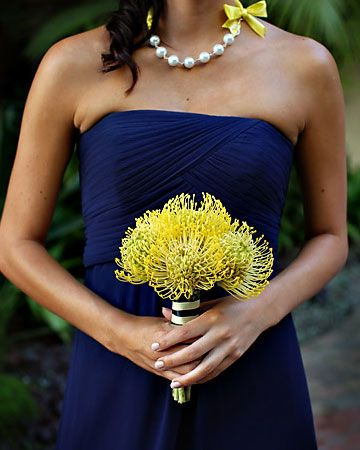 A really neat idea using Pincushion Protea. Shop Protea and other popular wedding flowers online at Growersbox.com.: Yellow Wedding, Blue Bridesmaid, Bridesmaid Dresses, Wedding Ideas, Colors, Gold Wedding