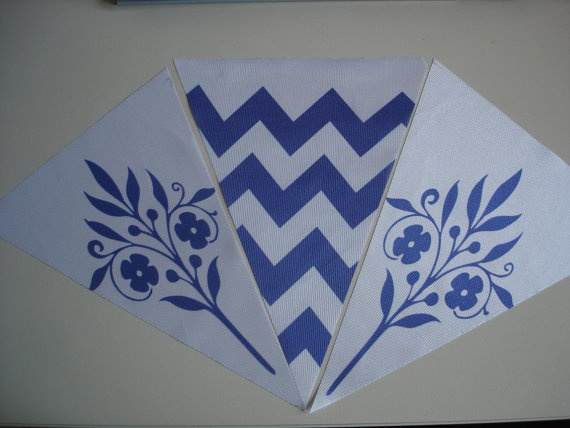 Fabric Bunting Chevron Flower Combination by customflag on Etsy, $19.00