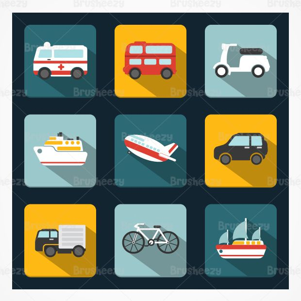 Shadowy Transportation PSD Icons Pack. Long shadow flat design