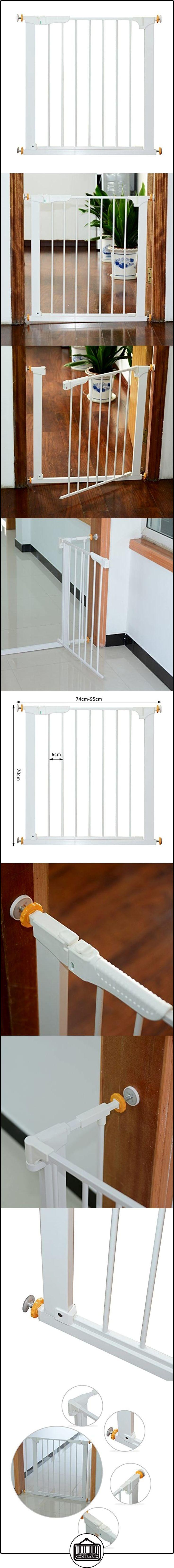 Puerta de Metal Blanca de Escalera o Pasillo para Mascotas tipo Barrera de Seguridad 74-95cm  ✿ Seguridad para tu bebé - (Protege a tus hijos) ✿ ▬► Ver oferta: http://comprar.io/goto/B01NCU2JR9
