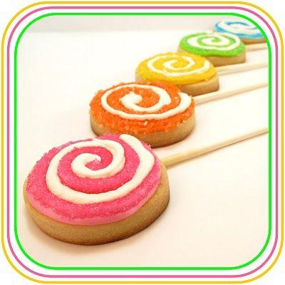 Lollipop cookiesCookies Dough, Lollipops Cookies, Sugar Cookies, Birthday Parties, Candyland Parties, Cookies Press, Parties Ideas, Desserts Tables, Cookies Pop