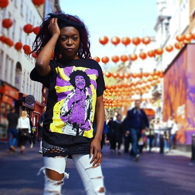 "CRMC X Deladeso ""Purple Grime"" Tee Available at www.crmcclothing.co | WE SHIP WORLDWIDE Model - Davina Miller Photography - Vizualography #hendrix #jimihendrix #grime #grimeart #dope #lit #boss #blackwear #black #loveblack #iloveblack #alternative #blackmodel #blackgirlsrock #alternativeblackwomen #beautifulblackwomen #melaningoddess #Grime #grimedesign #grimeartist #Grimeart #alternativewear #alternativestreetwear #alt #altwear #deladeso #digitaldeathandgrime #streetwear #CRMC #crmcclothing"