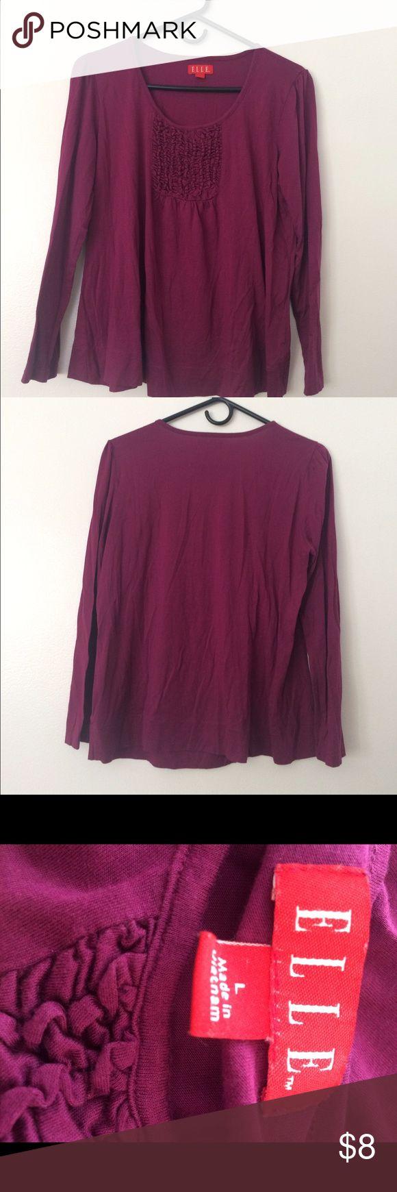 Elle purple long sleeve top Worn once. Elle long sleeve purple top, size large! Very cutee!! Elle Tops