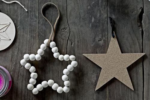 Grande Etoile en perles de bois