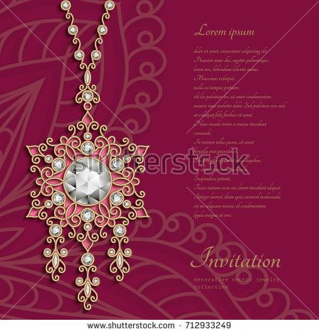 Filigree jewelry pendant decorated with diamonds,  jewellery gold women's decoration on red background, greeting card or invitation template, vector eps10