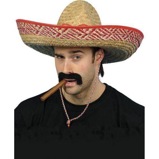 De klassieke Mexicaanse sombrero hoed voor volwassenen. Deze sombrero is fraai vormgegeven, met gekleurde rand. Maar liefst 48 cm.