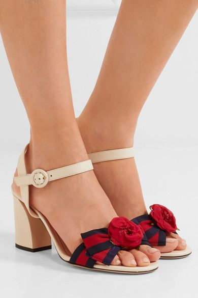 GUCCI Appliquéd grosgrain-trimmed leather sandals$795  Heel measures approximately 80mm; 3 inches White leather, navy and red grosgrain Buckle-fastening ankle strap Made in Italy