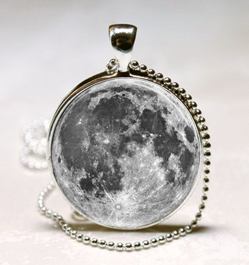 Full Moon Pendant, Glass Photo Necklace, Silver Plated, Free Chain.
