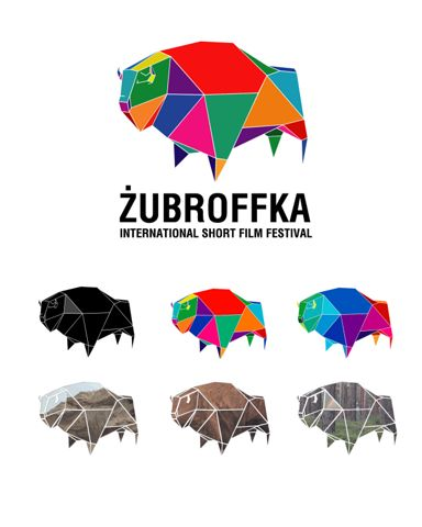 Zubroffka short film festival - Great branding with ideas of how to dynamically change change a logo with colour and images while remaining consistent.