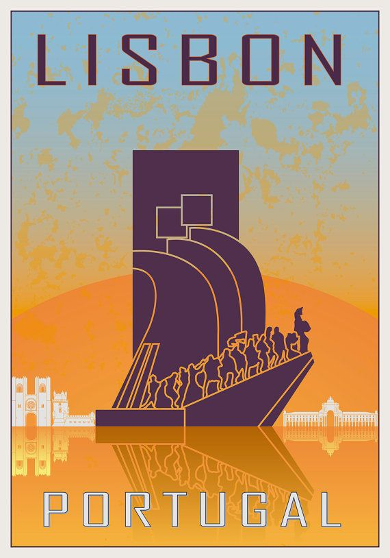 Lisbon, Portugal, vintage-style illustrated travel poster by Paulrommer on Etsy