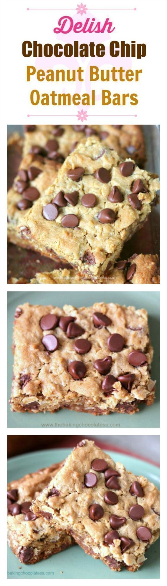 Delish Chocolate Chip Peanut Butter Oatmeal Bars – The Baking ChocolaTess (bake bar peanut butter)