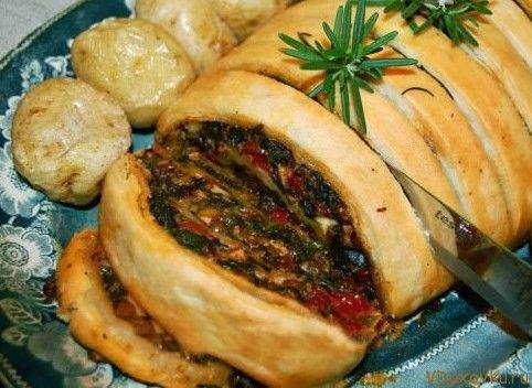 Веганский рулет с орехами, шпинатом и чечевицей / Веганские и вегетарианские рецепты