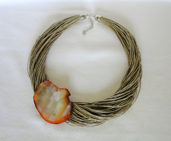 Organic Amber Necklace agates, unique Handmake  from Jewelry&Hand Made by DaWanda.com