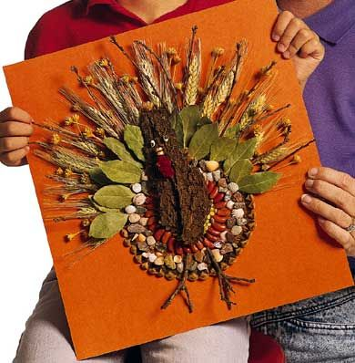 Wild Turkey Nature crafts for kids.  Go on a nature walk to collect items to make this Thanksgiving pal.