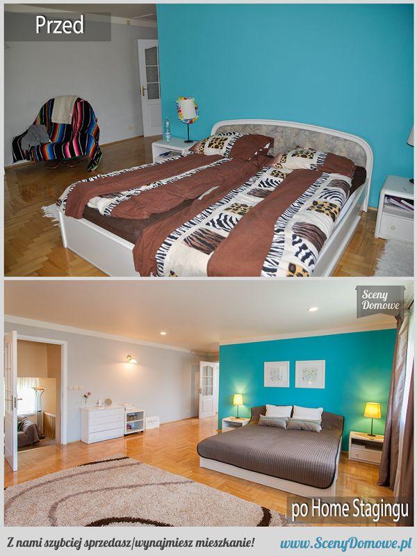 """I kolejne ujęcie """"lazurowej"""" sypialni :) #homestaging w Krakowie #beforeafter"""
