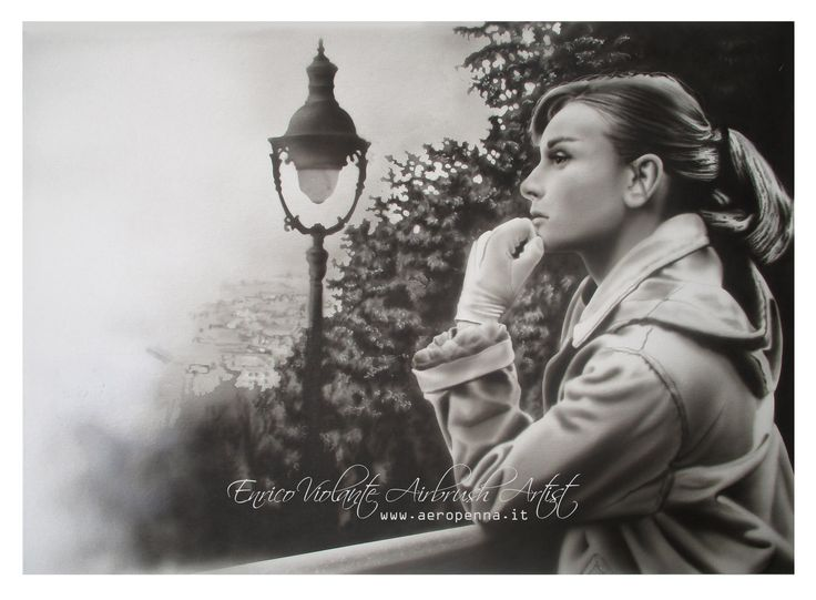 Audrey Hepburn,Airbrush portrait on canvas