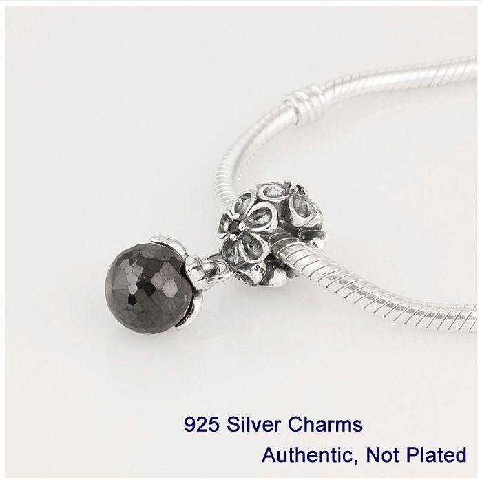 Совместимость с пандора браслеты ювелирные изделия аутентичные стерлингового серебра 925 каскадный мода шарм черный кристалл бусины горячая