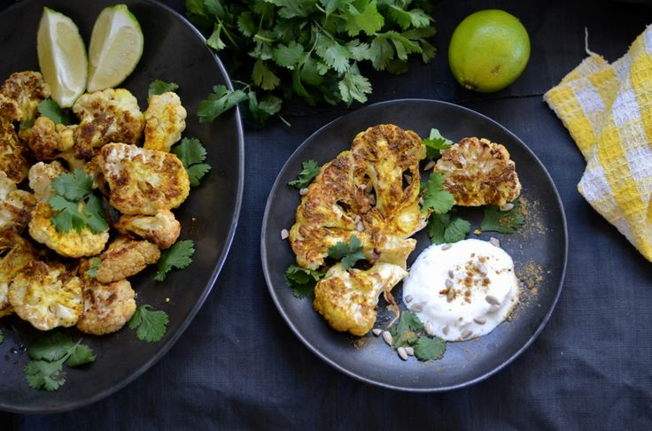 Roasted & Curried Cauliflower With a Yogurt Sauce #yummy #healthy # ...