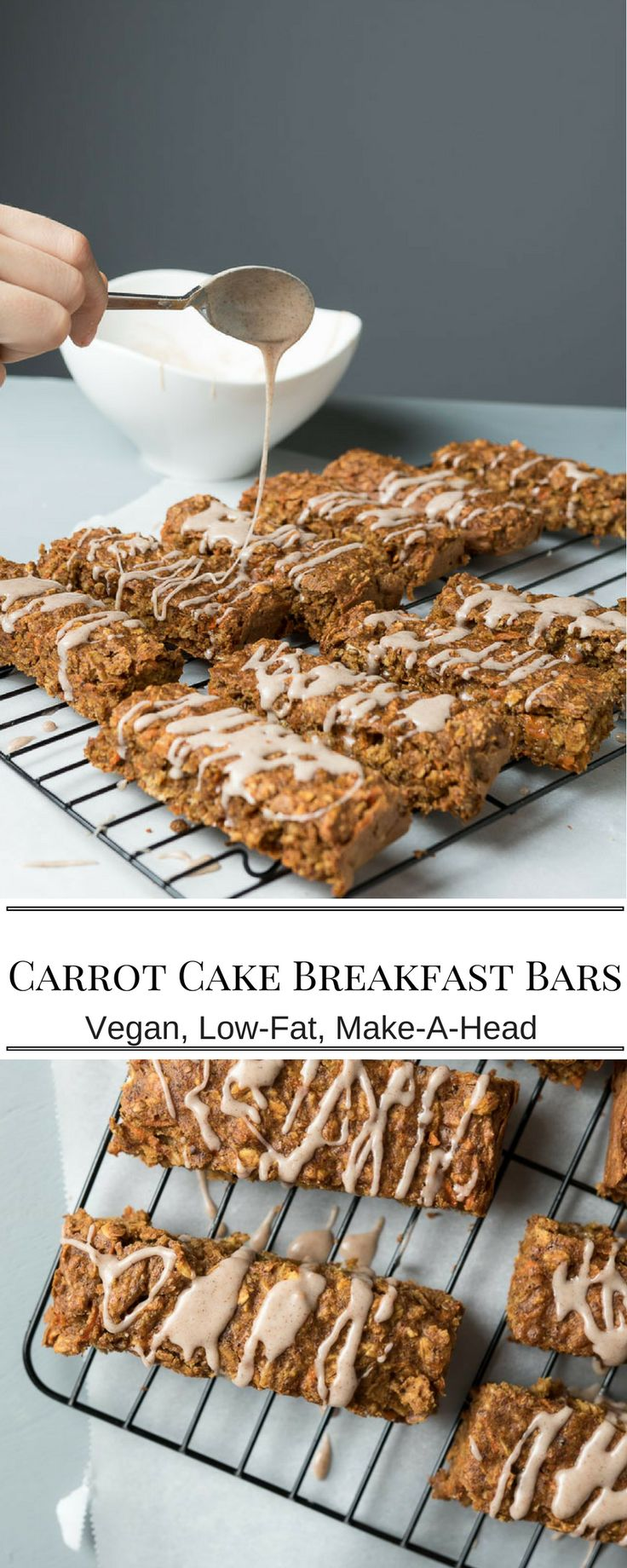 Carrot Cake Breakfast Bars. Make these ahead and stash in the freezer for a quick and healthy breakfast on the go. Oats, Carrots and peanut butter. Dairy free.