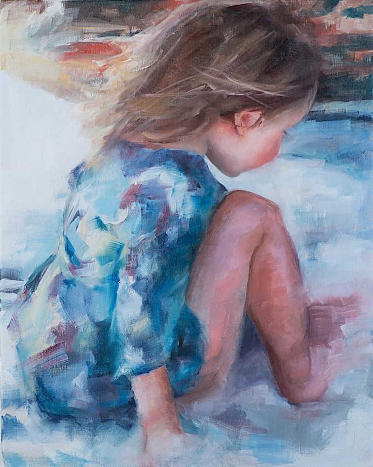 'Own World', oil on canvas painting, by artist Trish Ann Mitchell.  Little girl on the beach.