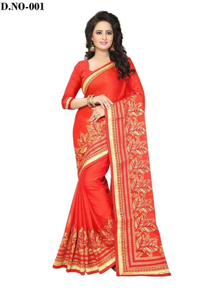 New Indian Designer Chiffon Ethnic Wear Bollywood Saree Wedding Wear Sari Red #RadhaKrishnaExports #BollywoodSaree #PartyWear