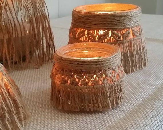 Set 2 Lanterne in Macramè, porta candela,  arredo casa, esterni e terrazze