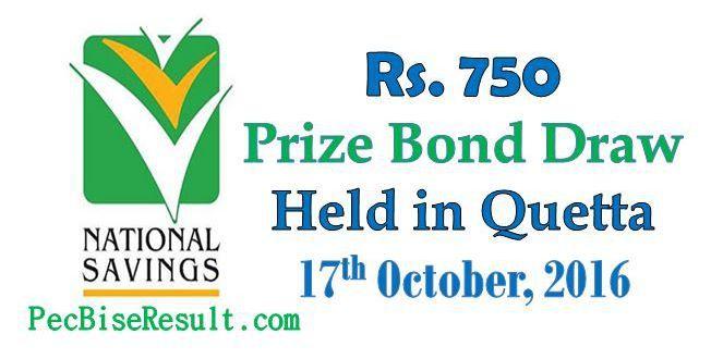 Rs. #750 Prize Bond #List 17th Oct, 2016 in #Quetta                      http://pecbiseresult.com/750-prize-bond-list-oct-2016/