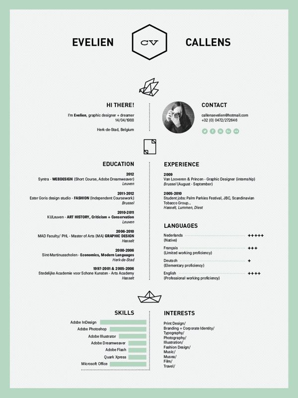 center alignment like the mint color resume by evelien callens via behance self promotion pinterest language infographic resume and texts