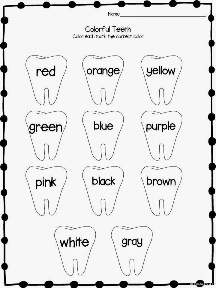 Color Words-Dental Health-February Themes