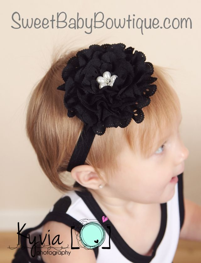 OMG the MOST ADORABLE baby headbands and newborn headbands! www.sweetbabybowtique.com!  The Olivia Flower Black Elastic Headband