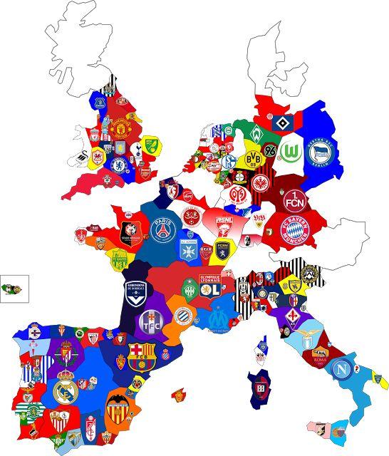 All European soccer team map