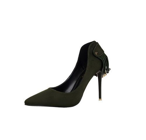 Dark Green Pointed Cowgirl Stiletto Shoes Thin High Heels with Studded Tassels #Unbranded #PumpsClassics