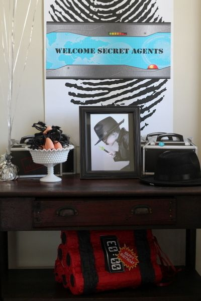 Welcome sign at a Secret Agents Birthday Party!  See more party ideas at CatchMyParty.com!