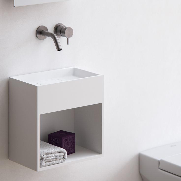 Clay BLOCK - white Solid surface made to measure hand rinse basin with integrated drainage system.