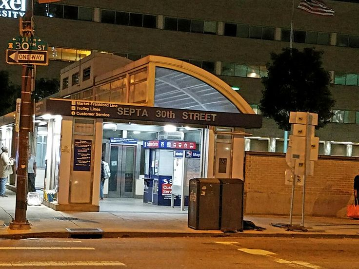 SEPTA's entrance to 30th Street station on the corner of 30th Street and Market Street in the University City neighborhood of West Philadelphia. This station provides access to the Market-Frankford subway line as well as subway-surface trolley lines 10, 11, 13, 34 and 36. A tunnel used to connect it to the main 30th Street Station building, but was closed off due to high crime.