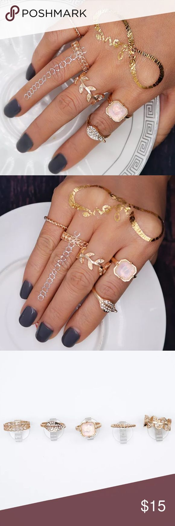 New Item✨ 5 piece Gold Midi Ring Set ✨ ✨ Fashion Jewelry ✨ Alloy, Gold Plated, Rhinestones, White Opal Stone  ✨ Super Cute Ring Set- Very Sparkly   Brand New✨ PRICE IS FIRM- already listed at lowest price  If you want to save please look into bundling  In Stock No Trades Will ship within 24- 48 hours Monday-Friday  Please -NO- Offers on items priced $10 and under AND ON SALE ITEMS‼️  Serious Inquiries Only❣️  Bundle one or more items from my boutique to only pay one shipping fee✨ Jewelry…