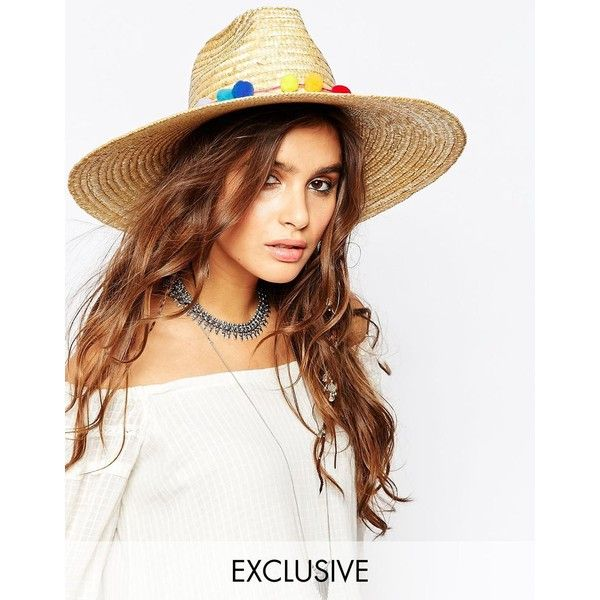 Catarzi Wide Brim Straw Fedora with Pom Pom Trim ($73) ❤ liked on Polyvore featuring accessories, hats, beige, pompom hat, wide brim straw fedora, crown hat, wide brim hat and straw fedora