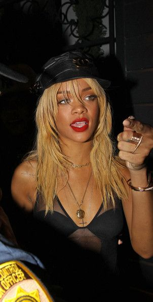 Rihanna Red Lipstick - Rihanna wore a bold red lipstick while out in West Hollywood.