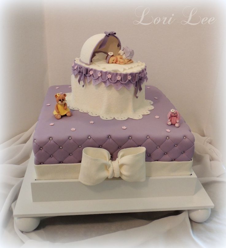 Baby Shower Cakes - Bassinet Baby Shower Cake