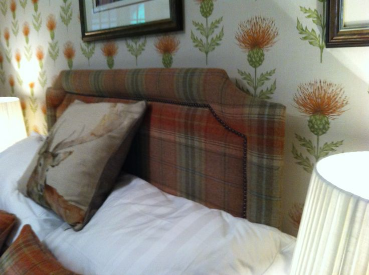 Scottish themed bedroom close nailed headboard in tartan