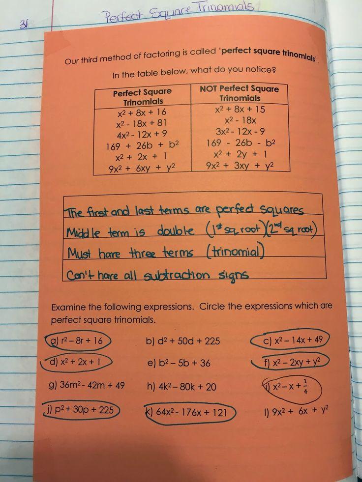 misscalcul8: Algebra 2 Unit 3: Factoring Perfect Square Trinomials