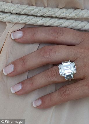 Kim Kardashian from Kris Humphries. 16.5 carat emerald cut center stone flanked by a pair of 2-carat trapezoids for a total of 20.5 carats.