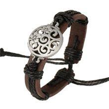 Nouveau 100% réel en cuir Bracelet creux fleur Bracelet corde de chanvre Bracelet manchette élégant cadeau parti populaire hommes femmes bijoux(China (Mainland))