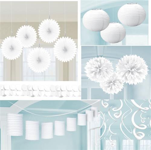 Cool Details zu Party Deko WEISS Papier Laterne F cher Girlande Pompom Hochzeit Geburtstag