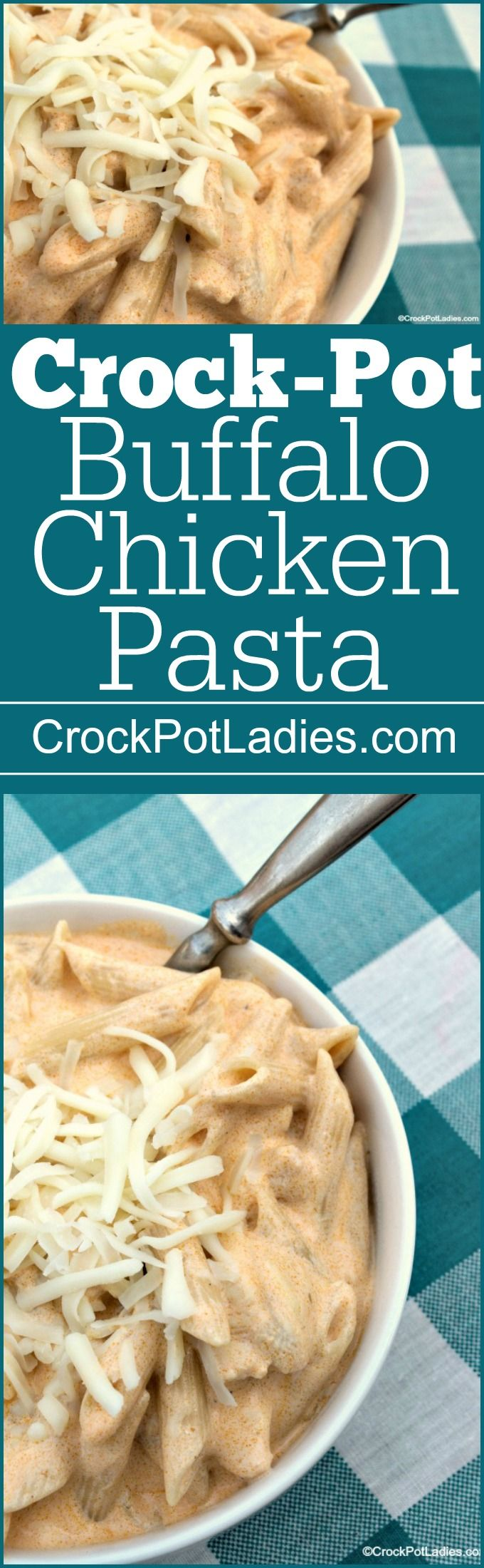Crock-Pot Buffalo Chicken Pasta - delicious and easy dinner recipe that is full of spicy (but not too spicy) flavor. If you like buffalo chicken wings you will LOVE this pasta version made in your slow cooker   CrockPotLadies.com